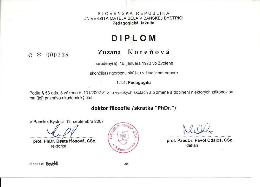 PF UMB, Zuzana Almáši Korwňová